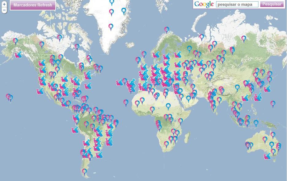 O mapa mostra os lugares do mundo onde as pessoas estão fazendo amor