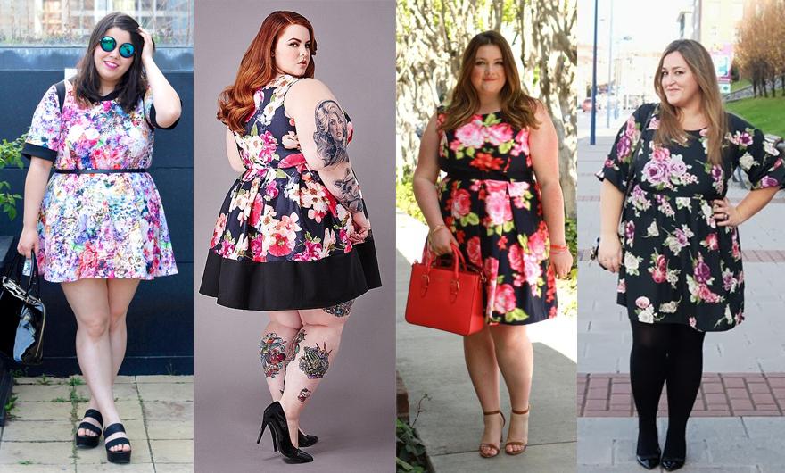 vestido floral plus size 1 - grandes mulheres