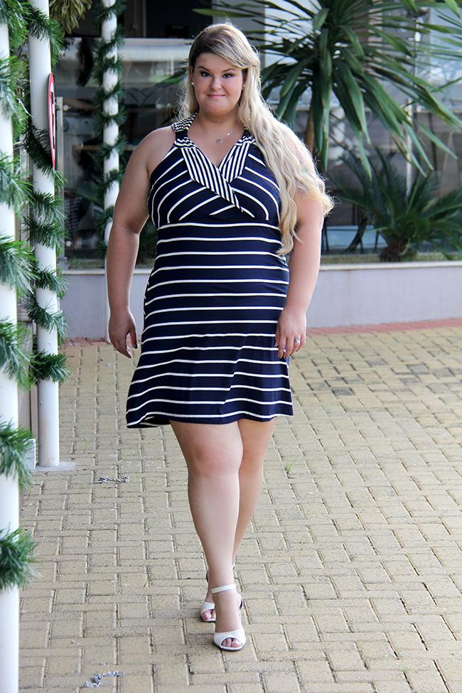 vestido listrado plus size 2 - lilo fashion - grandes mulheres