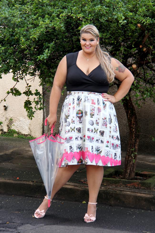 saia midi plus size 32 - chica bolacha - grandes mulheres