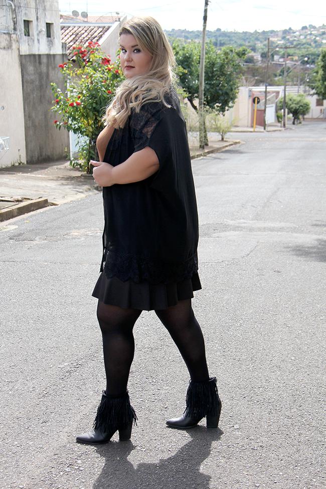 Look plus size - preto com suede 10 - grandes mulheres - paula bastos