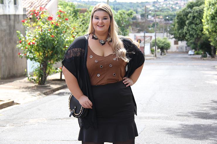 Look plus size - preto com suede 14 - grandes mulheres - paula bastos