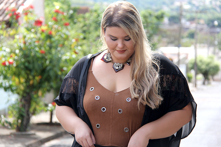Look plus size - preto com suede 5 - grandes mulheres - paula bastos