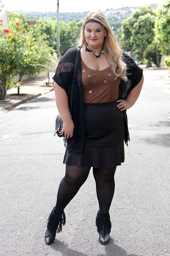 Look plus size - preto com suede 7 - grandes mulheres - paula bastos