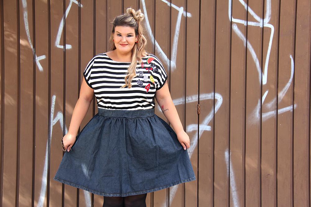 Look saia jeans e listras 10 - chica bolacha - grandes mulheres - paula bastos