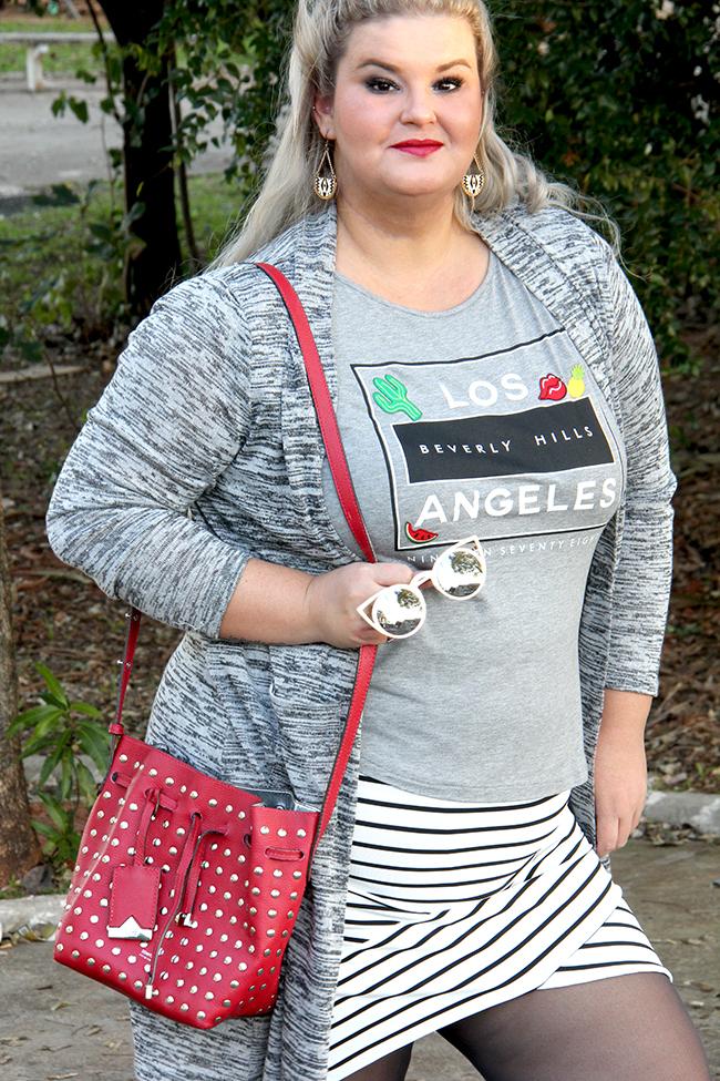 saia bandagem listrada e t-shirt 11 - grandes mulheres - moda plus size