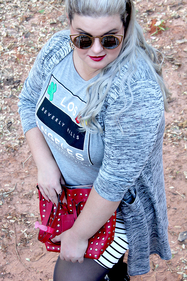 saia bandagem listrada e t-shirt 4 - grandes mulheres - moda plus size