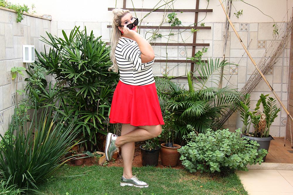 Blusa listrada e saia vermelha - Rouge Marie - moda plus size - plus size - look do dia plus size - grandes mulheres 6