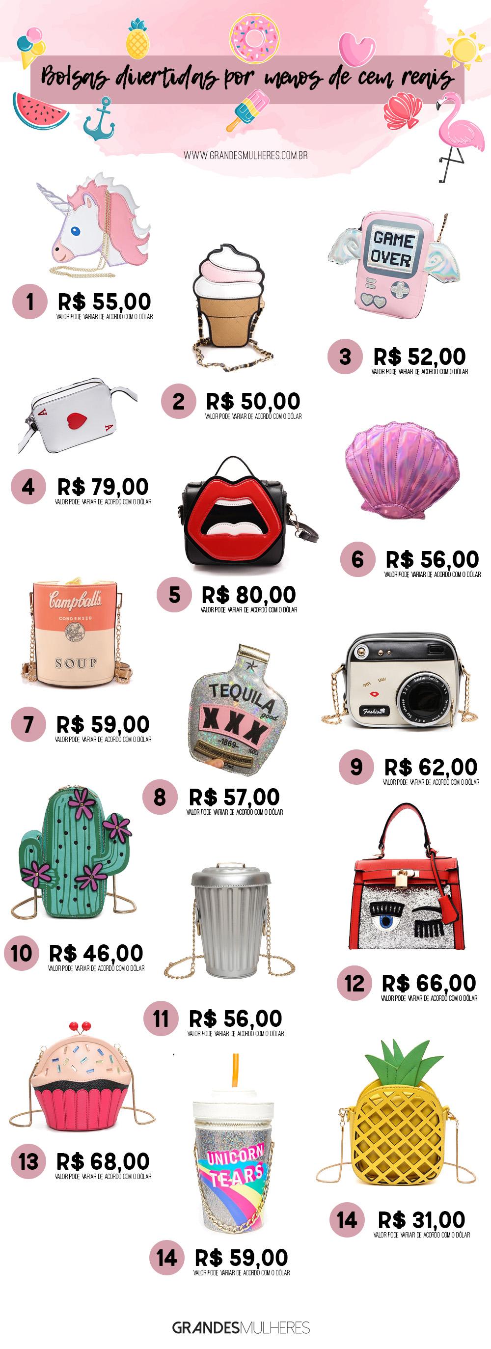 Bolsas divertidas por menos de cem reais, bolsas divertidas, fun handbags, fun bags, onde comprar bolsas divertidas