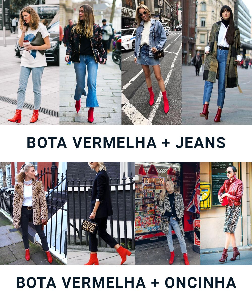 Veja looks com bota vermelha para você fazer combinações legais no dia a dia!